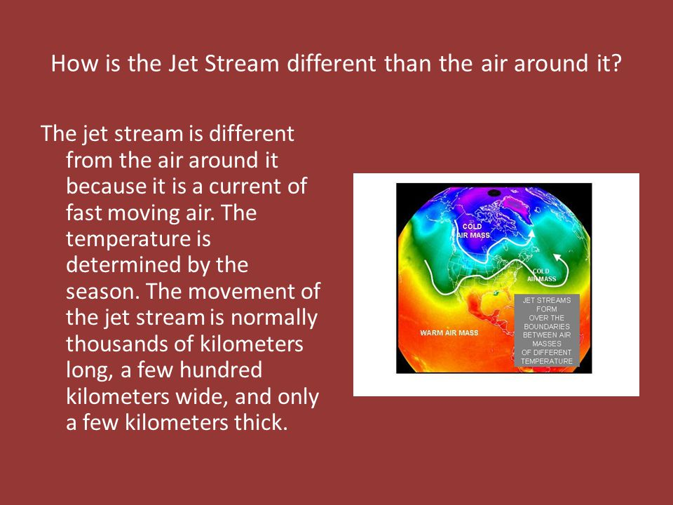 How is the Jet Stream different than the air around it.