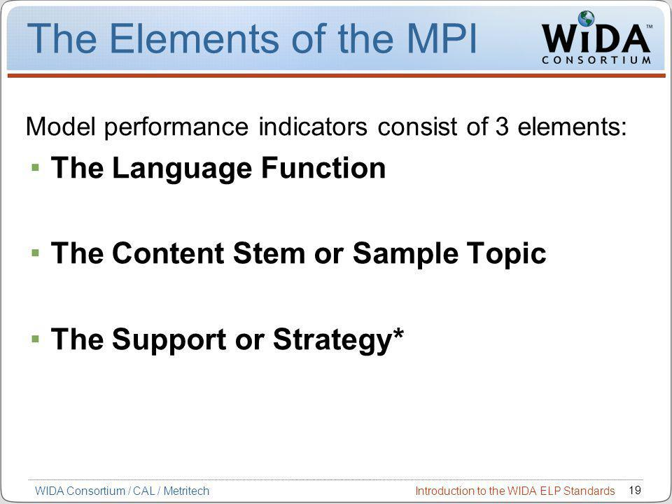 Introduction to the WIDA ELP Standards 19 WIDA Consortium / CAL / Metritech The Elements of the MPI Model performance indicators consist of 3 elements: The Language Function The Content Stem or Sample Topic The Support or Strategy*