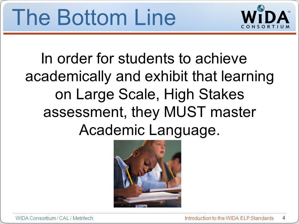 Introduction to the WIDA ELP Standards 4 WIDA Consortium / CAL / Metritech The Bottom Line In order for students to achieve academically and exhibit that learning on Large Scale, High Stakes assessment, they MUST master Academic Language.
