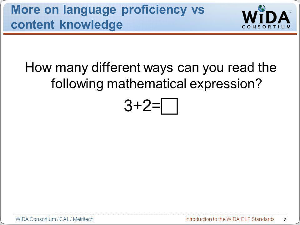 Introduction to the WIDA ELP Standards 5 WIDA Consortium / CAL / Metritech More on language proficiency vs content knowledge How many different ways can you read the following mathematical expression.