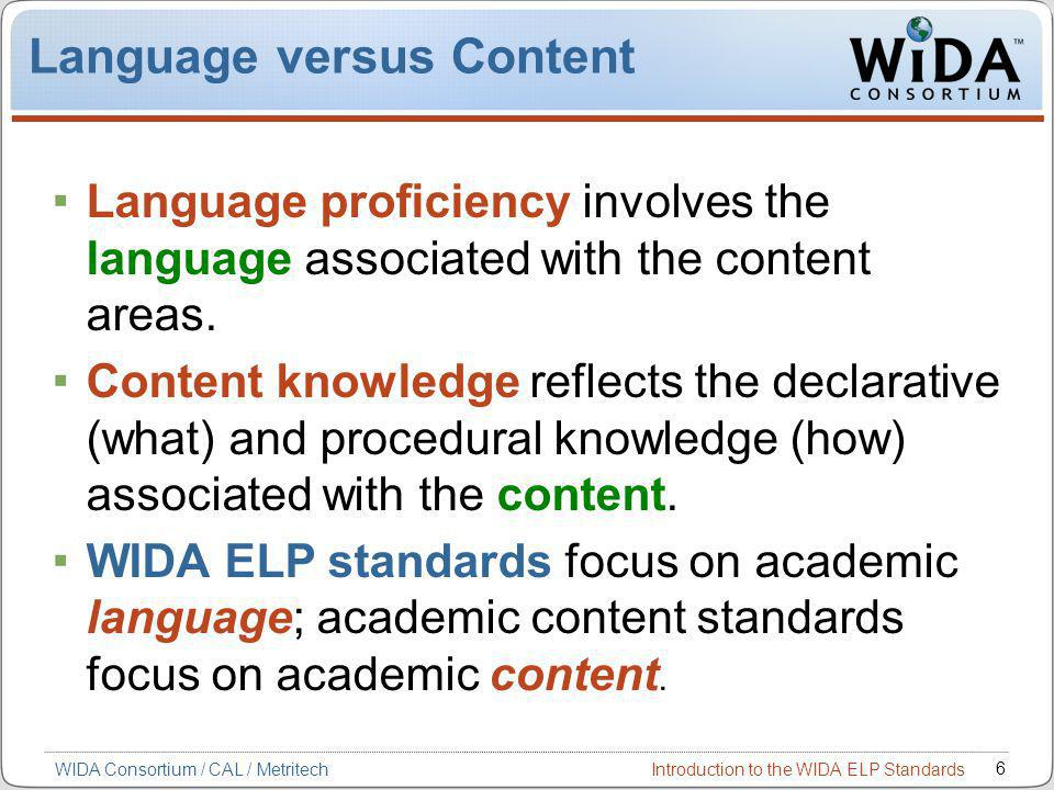 Introduction to the WIDA ELP Standards 6 WIDA Consortium / CAL / Metritech Language versus Content Language proficiency involves the language associated with the content areas.