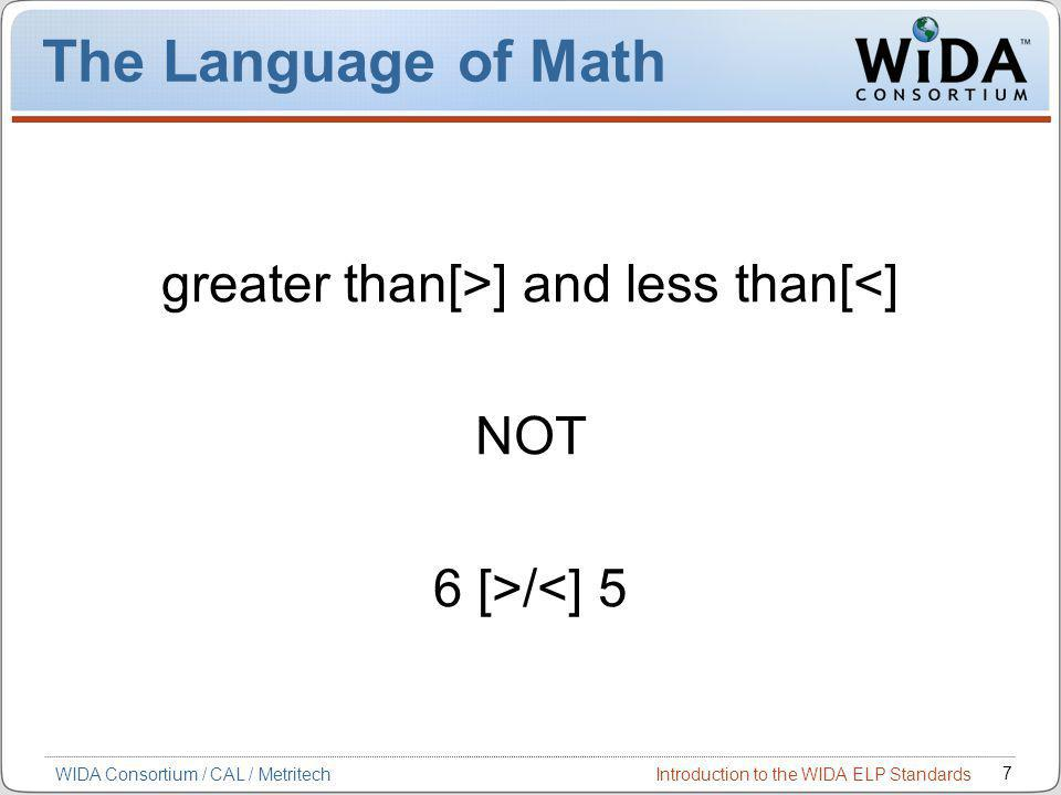 Introduction to the WIDA ELP Standards 7 WIDA Consortium / CAL / Metritech The Language of Math greater than[>] and less than[<] NOT 6 [>/<] 5