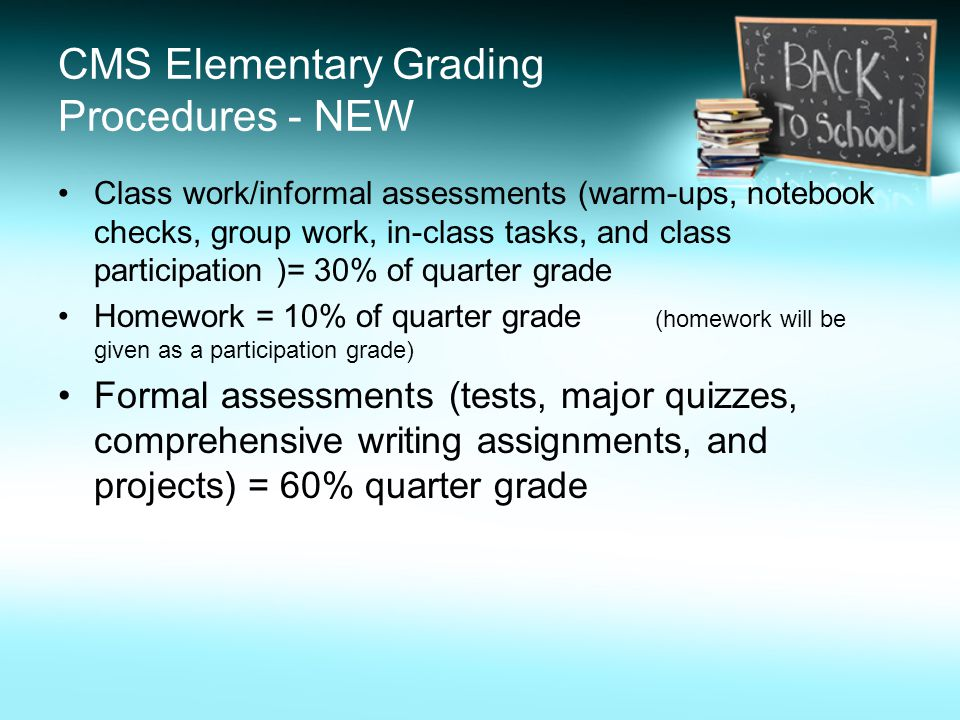 Class work/informal assessments (warm-ups, notebook checks, group work, in-class tasks, and class participation )= 30% of quarter grade Homework = 10% of quarter grade (homework will be given as a participation grade) Formal assessments (tests, major quizzes, comprehensive writing assignments, and projects) = 60% quarter grade CMS Elementary Grading Procedures - NEW