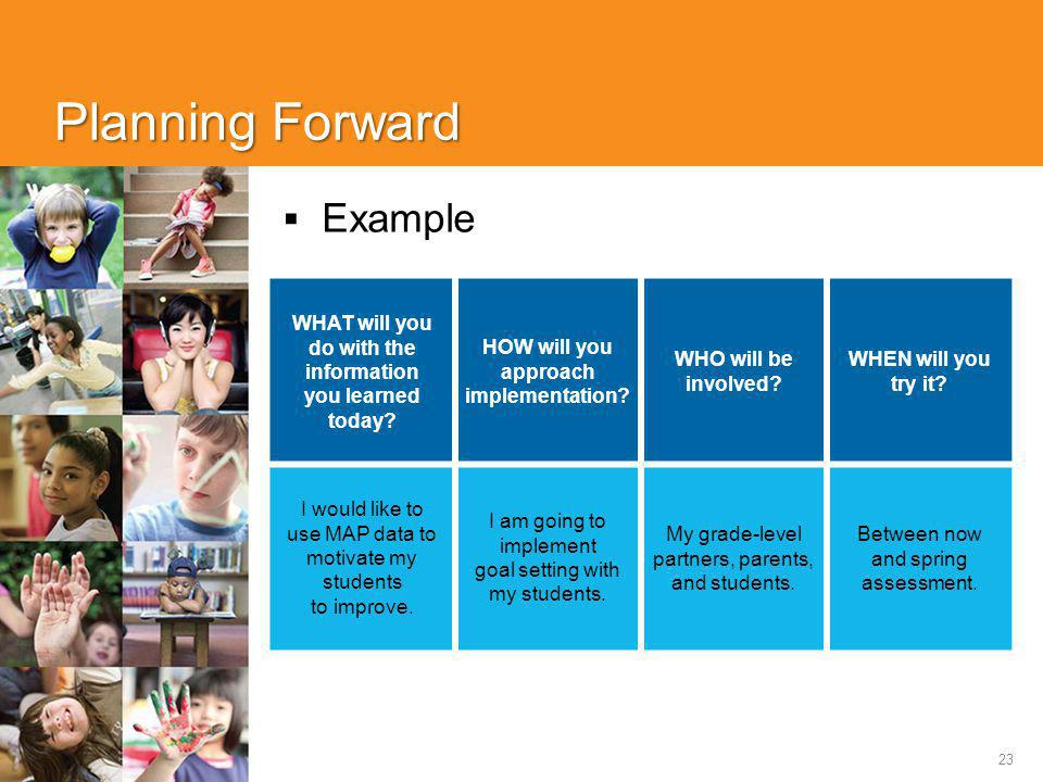 23 Planning Forward  Example WHAT will you do with the information you learned today.