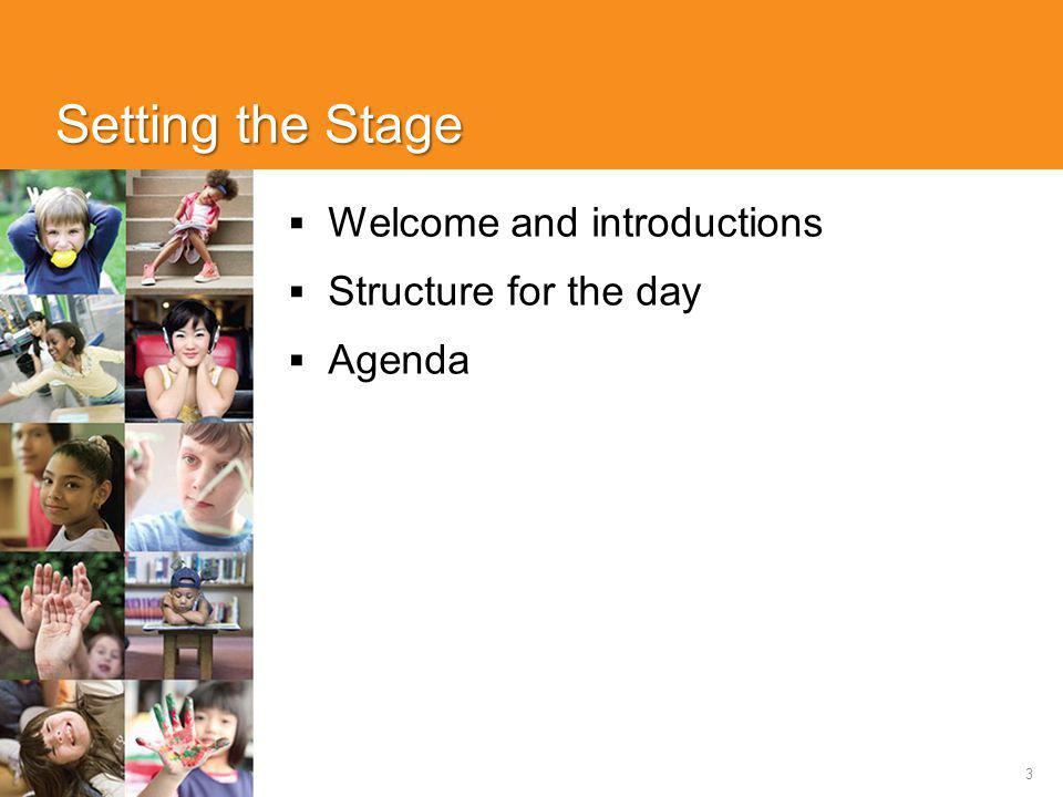 3 Setting the Stage  Welcome and introductions  Structure for the day  Agenda