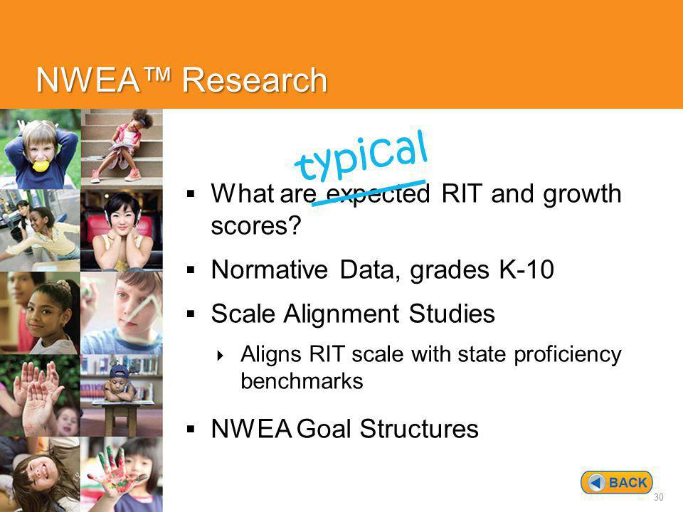 30 NWEA™ Research  What are expected RIT and growth scores.