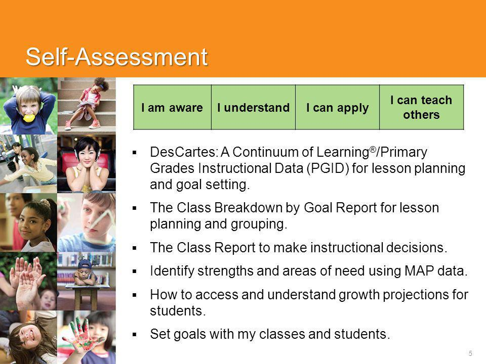 5 Self-Assessment  DesCartes: A Continuum of Learning ® /Primary Grades Instructional Data (PGID) for lesson planning and goal setting.