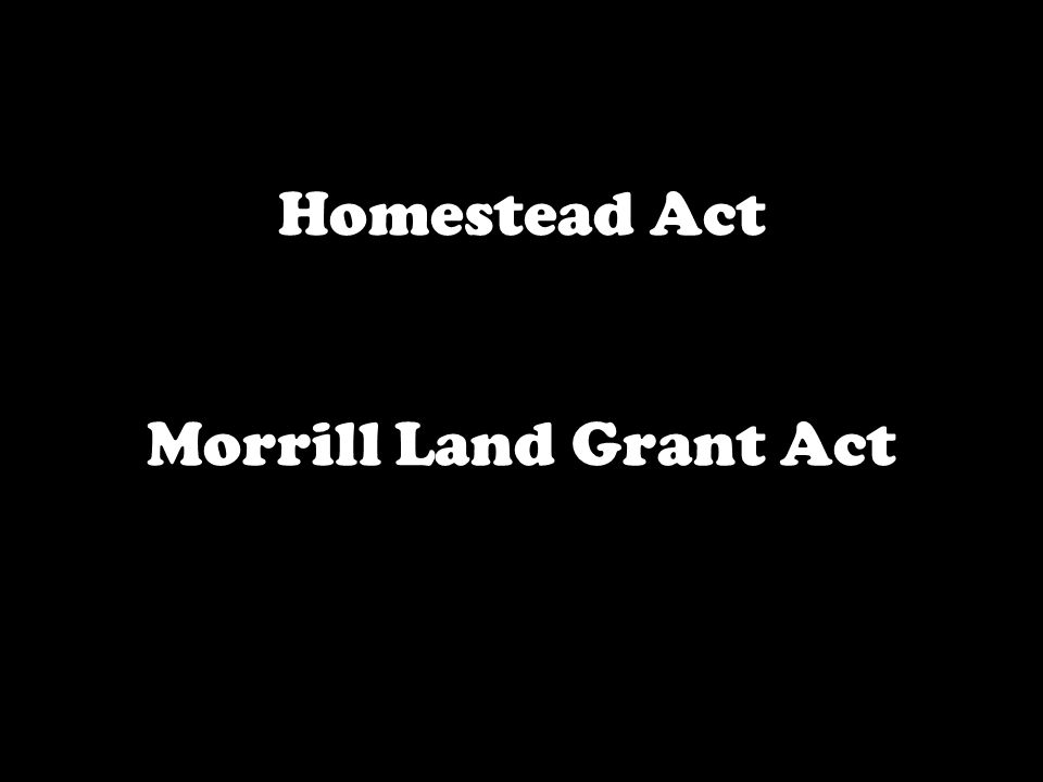 Homestead Act Morrill Land Grant Act