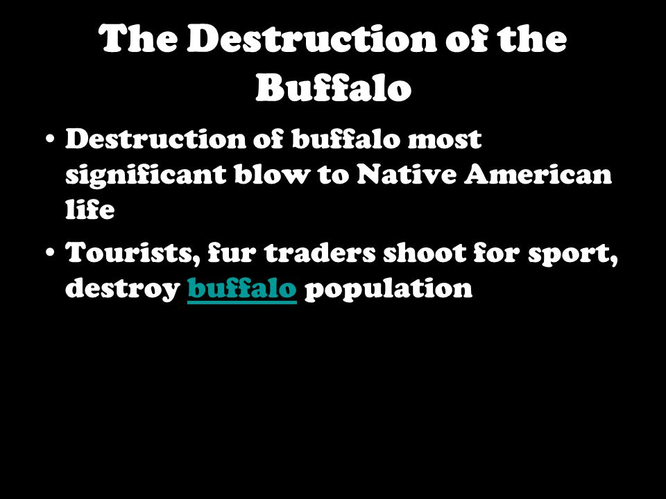 The Destruction of the Buffalo Destruction of buffalo most significant blow to Native American life Tourists, fur traders shoot for sport, destroy buffalo populationbuffalo