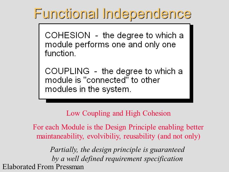 Functional Independence Low Coupling and High Cohesion For each Module is the Design Principle enabling better maintaneability, evolvibiliy, reusability (and not only) Elaborated From Pressman Partially, the design principle is guaranteed by a well defined requirement specification