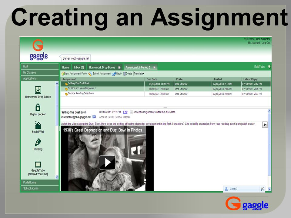 Creating an Assignment