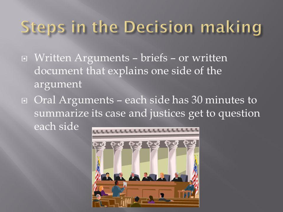  Written Arguments – briefs – or written document that explains one side of the argument  Oral Arguments – each side has 30 minutes to summarize its case and justices get to question each side