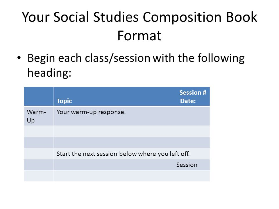 Your Social Studies Composition Book Format Begin each class/session with the following heading: Session # Topic Date: Warm- Up Your warm-up response.