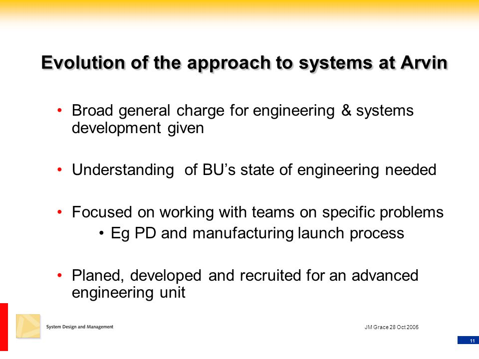 11 JM Grace 28 Oct 2005 Evolution of the approach to systems at Arvin Broad general charge for engineering & systems development given Understanding of BU's state of engineering needed Focused on working with teams on specific problems Eg PD and manufacturing launch process Planed, developed and recruited for an advanced engineering unit