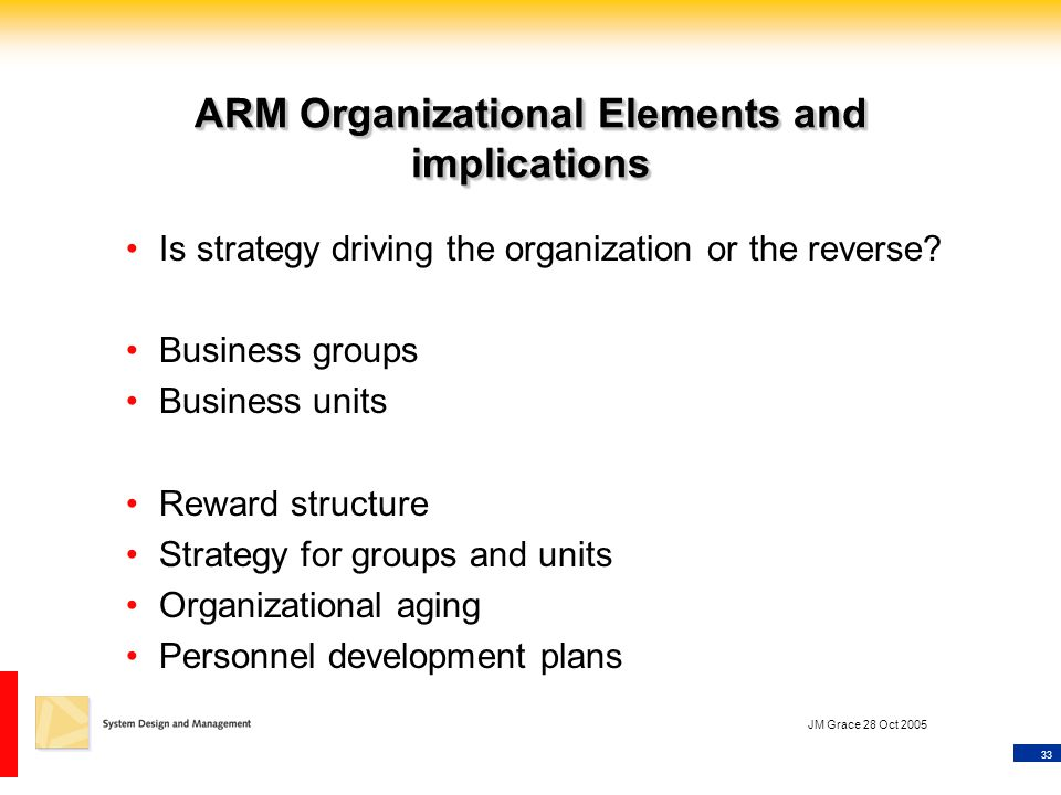 33 JM Grace 28 Oct 2005 ARM Organizational Elements and implications Is strategy driving the organization or the reverse.