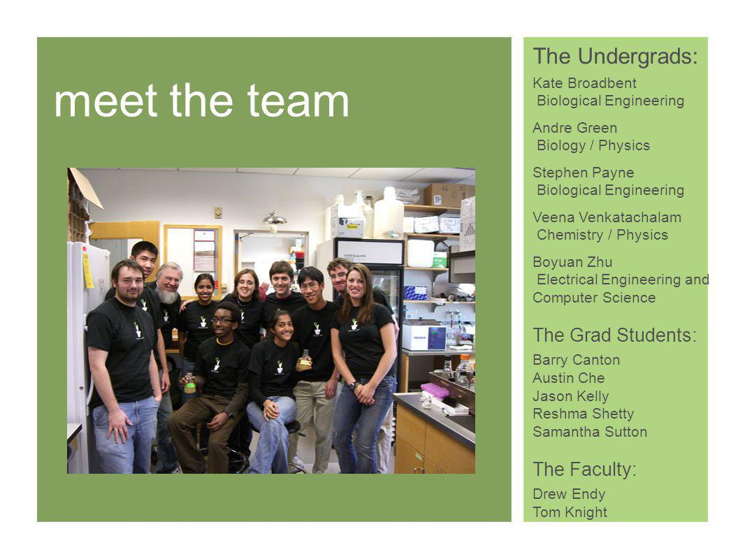 meet the team The Undergrads: Kate Broadbent Biological Engineering Andre Green Biology / Physics Stephen Payne Biological Engineering Veena Venkatachalam Chemistry / Physics Boyuan Zhu Electrical Engineering and Computer Science The Grad Students: Barry Canton Austin Che Jason Kelly Reshma Shetty Samantha Sutton The Faculty: Drew Endy Tom Knight