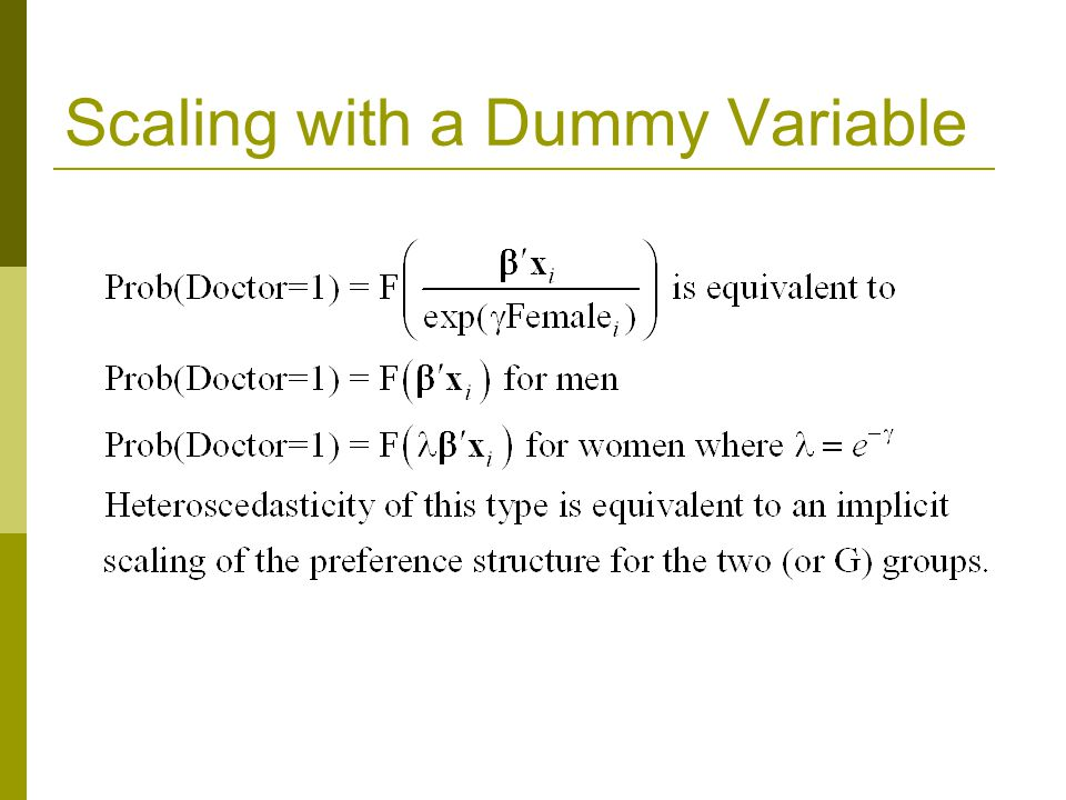 Scaling with a Dummy Variable