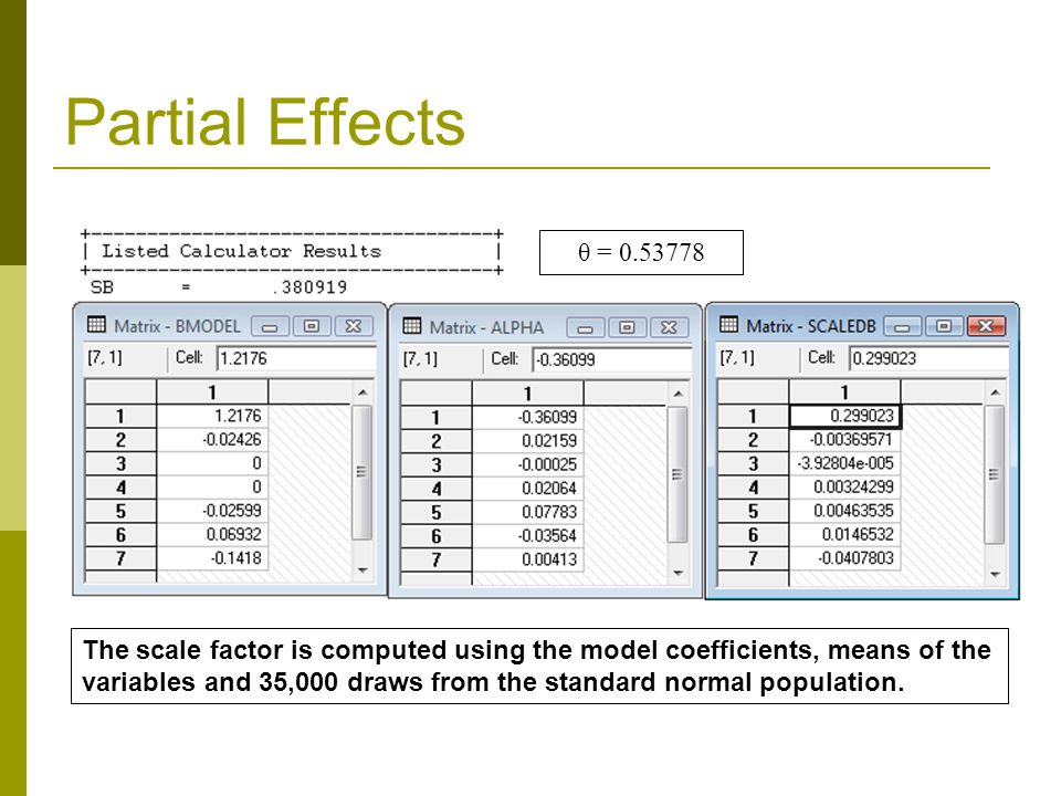 Partial Effects The scale factor is computed using the model coefficients, means of the variables and 35,000 draws from the standard normal population.