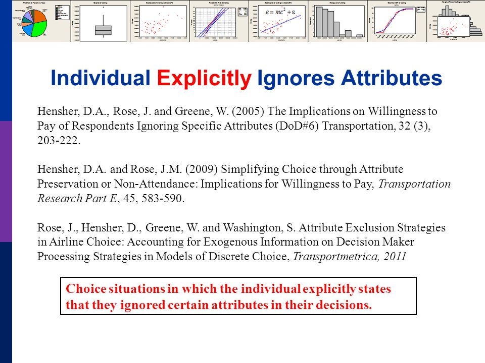 Individual Explicitly Ignores Attributes Hensher, D.A., Rose, J.