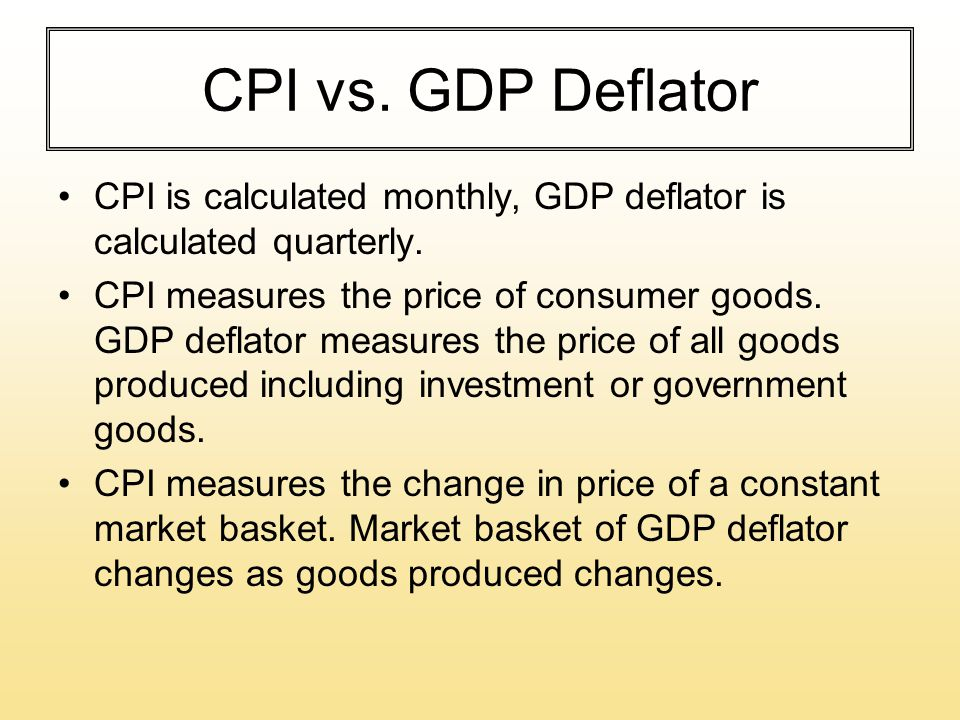 CPI vs. GDP Deflator CPI is calculated monthly, GDP deflator is calculated quarterly.