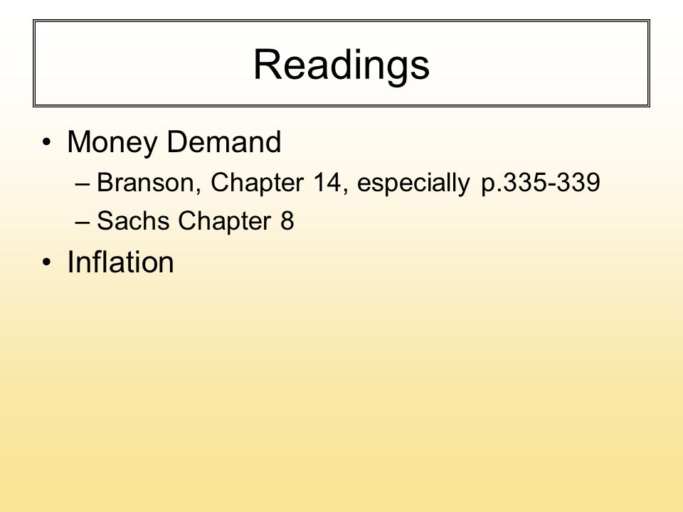 Readings Money Demand –Branson, Chapter 14, especially p.335-339 –Sachs Chapter 8 Inflation