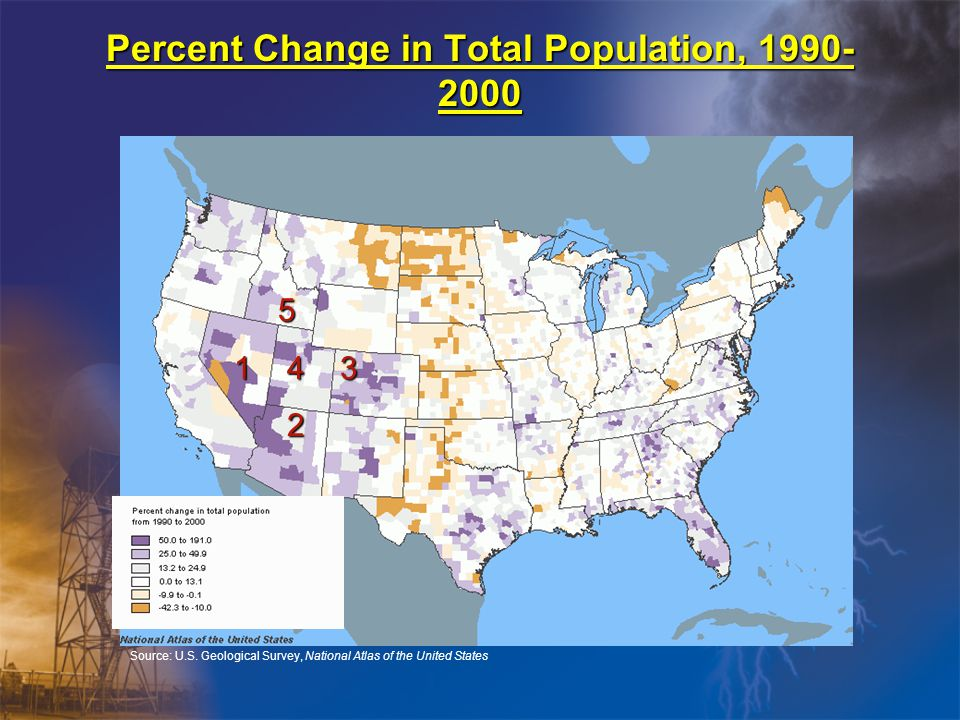 Percent Change in Total Population, 1990- 2000 Source: U.S.