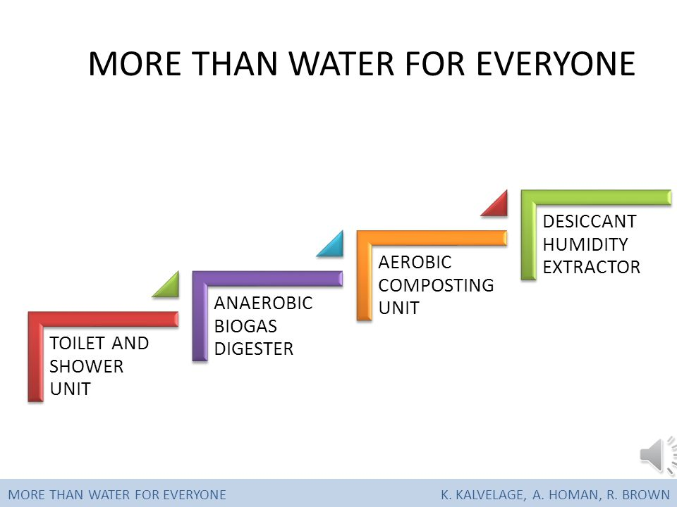 COMPONENTS MORE THAN WATER FOR EVERYONE K. KALVELAGE, A. HOMAN, R. BROWN