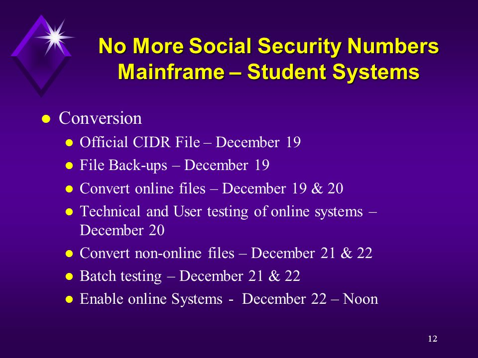 12 No More Social Security Numbers Mainframe – Student Systems l Conversion l Official CIDR File – December 19 l File Back-ups – December 19 l Convert online files – December 19 & 20 l Technical and User testing of online systems – December 20 l Convert non-online files – December 21 & 22 l Batch testing – December 21 & 22 l Enable online Systems - December 22 – Noon
