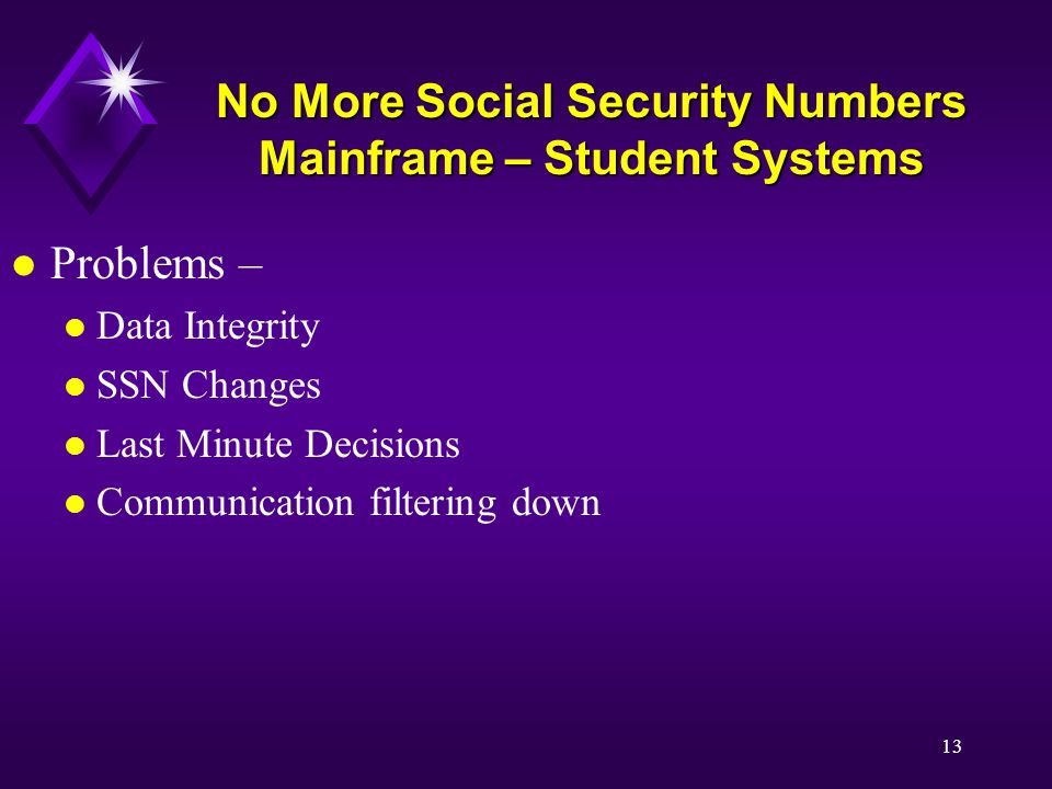 13 No More Social Security Numbers Mainframe – Student Systems l Problems – l Data Integrity l SSN Changes l Last Minute Decisions l Communication filtering down