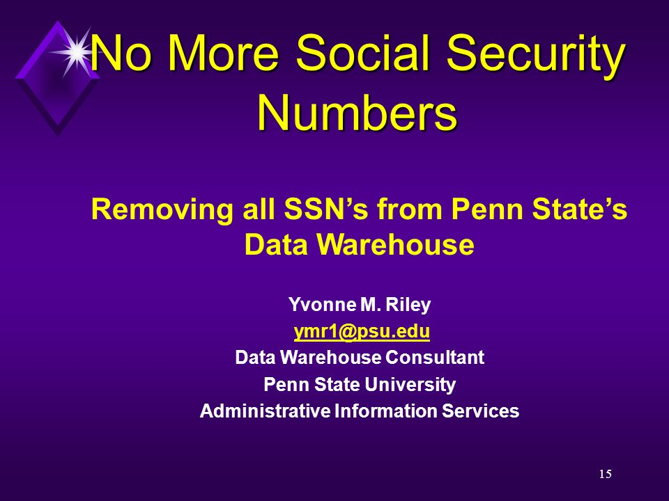 15 Removing all SSN's from Penn State's Data Warehouse Yvonne M.