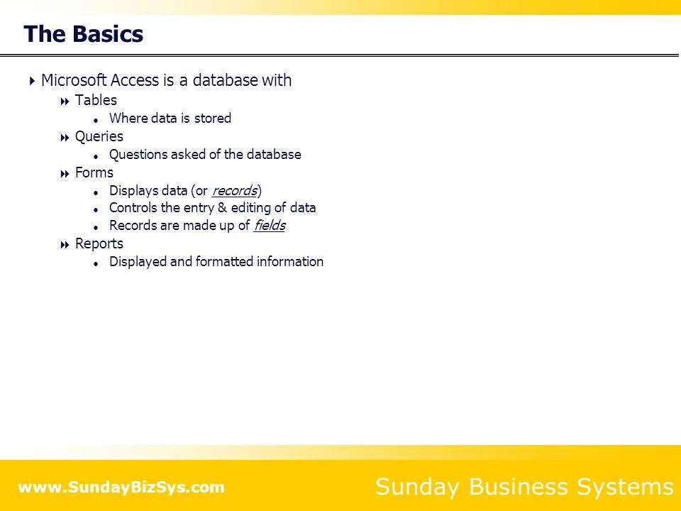Sunday Business Systems www.SundayBizSys.com The Basics  Microsoft Access is a database with  Tables  Where data is stored  Queries  Questions asked of the database  Forms  Displays data (or records)  Controls the entry & editing of data  Records are made up of fields  Reports  Displayed and formatted information