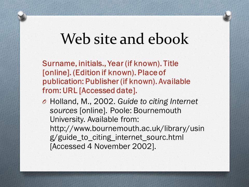 Web site and ebook Surname, initials., Year (if known).
