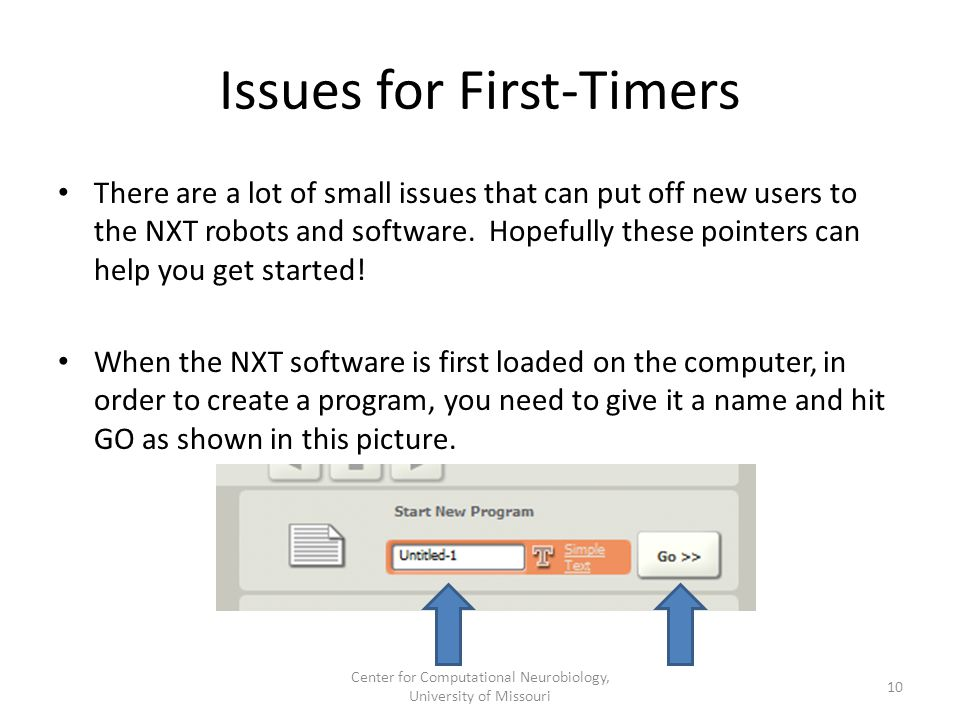 Issues for First-Timers There are a lot of small issues that can put off new users to the NXT robots and software.