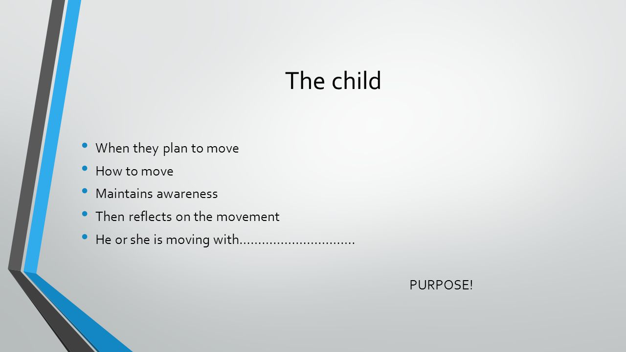 The child When they plan to move How to move Maintains awareness Then reflects on the movement He or she is moving with………………………….