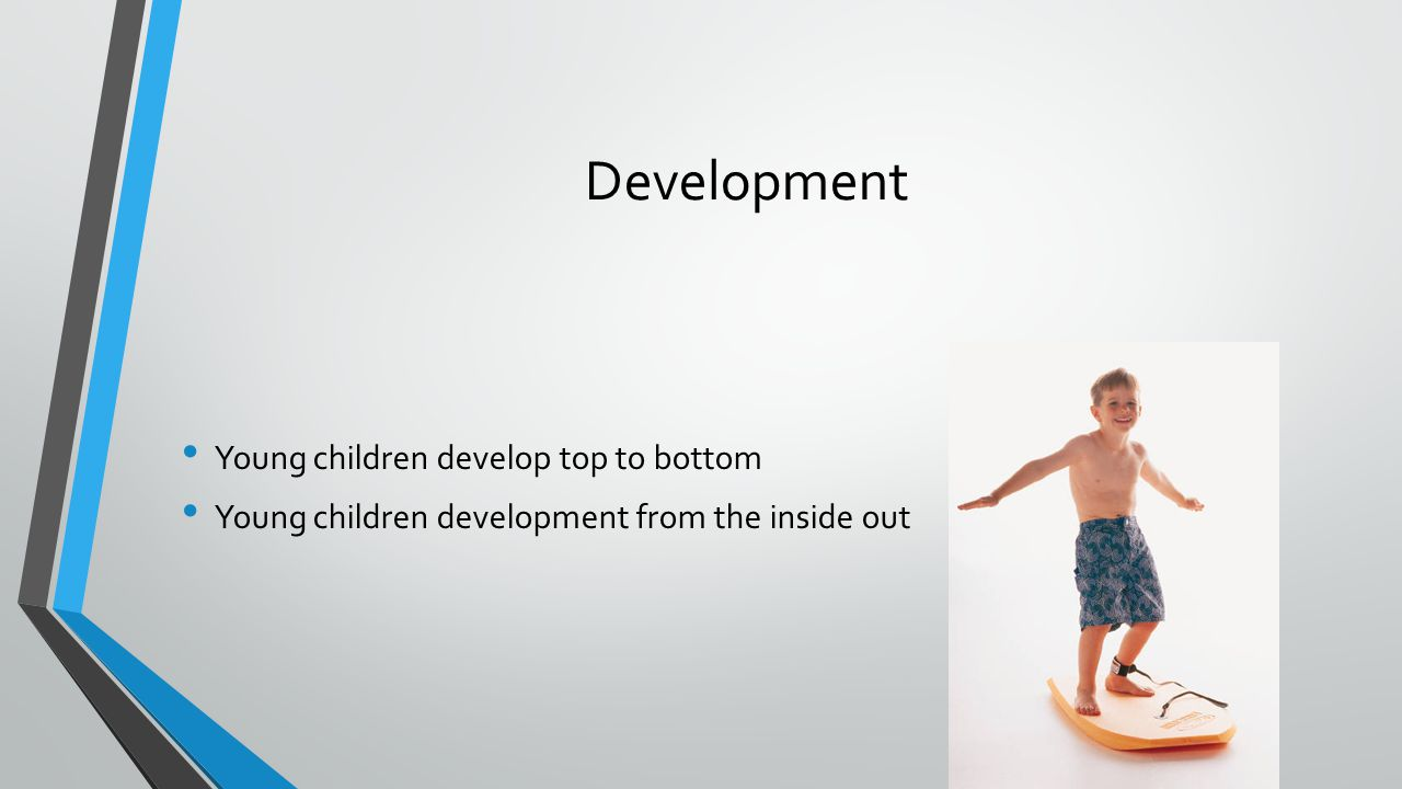 Development Young children develop top to bottom Young children development from the inside out