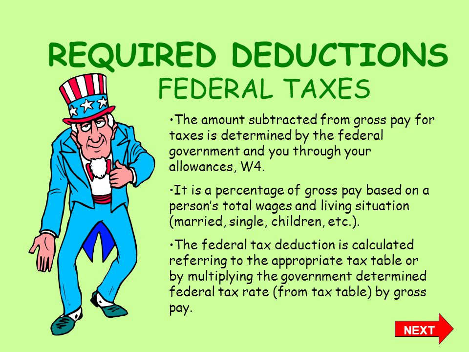 REQUIRED DEDUCTIONS FEDERAL TAXES The amount subtracted from gross pay for taxes is determined by the federal government and you through your allowances, W4.