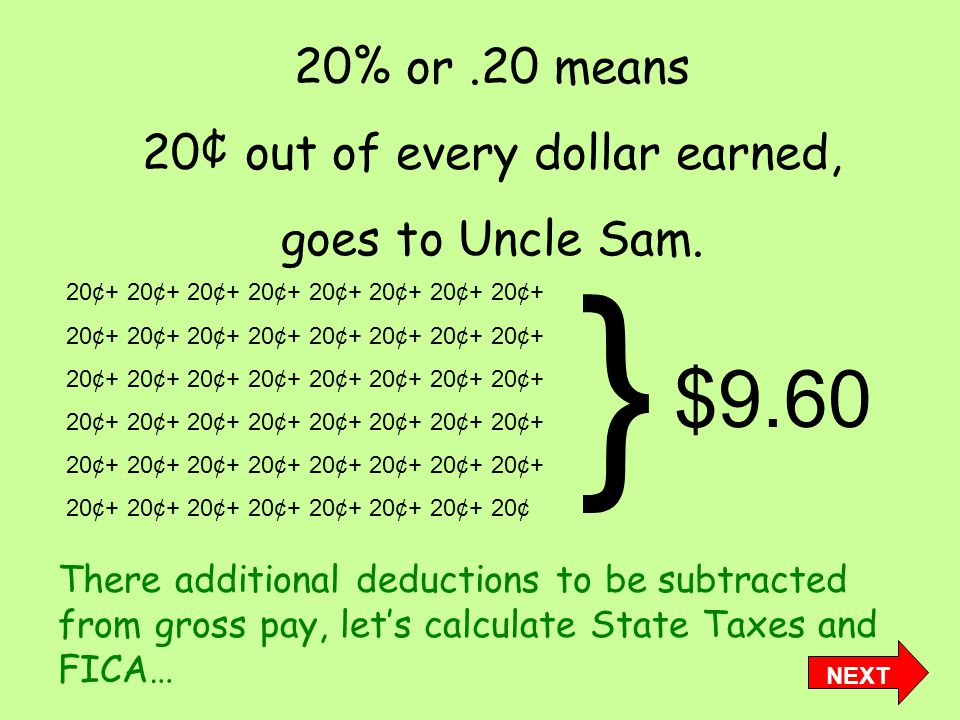 20% or.20 means 20¢ out of every dollar earned, goes to Uncle Sam.