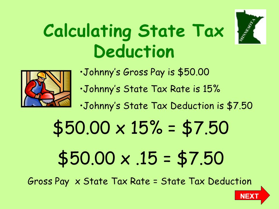 Calculating State Tax Deduction Gross Pay x State Tax Rate = State Tax Deduction Johnny's Gross Pay is $50.00 Johnny's State Tax Rate is 15% Johnny's State Tax Deduction is $7.50 $50.00 x 15% = $7.50 $50.00 x.15 = $7.50 NEXT
