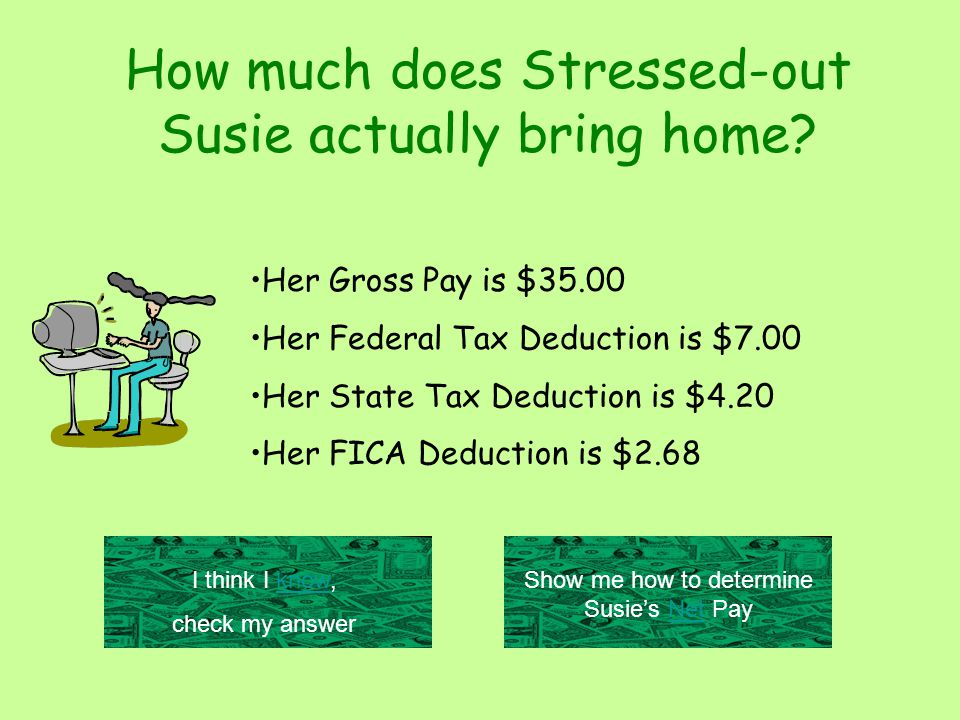 Her Gross Pay is $35.00 Her Federal Tax Deduction is $7.00 Her State Tax Deduction is $4.20 Her FICA Deduction is $2.68 How much does Stressed-out Susie actually bring home.