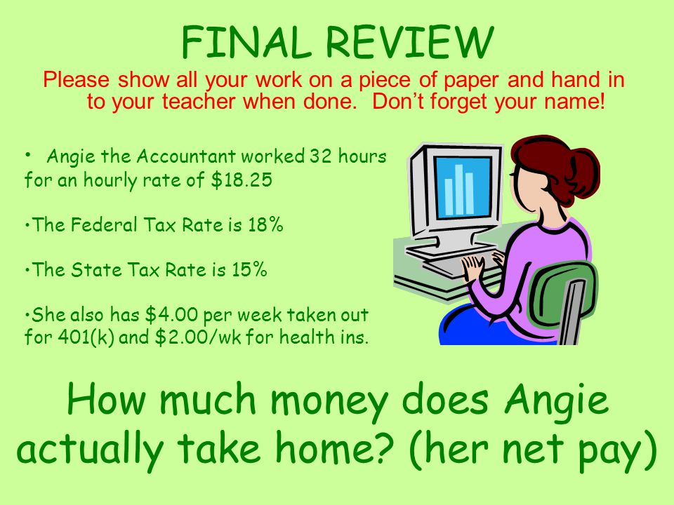 FINAL REVIEW Please show all your work on a piece of paper and hand in to your teacher when done.