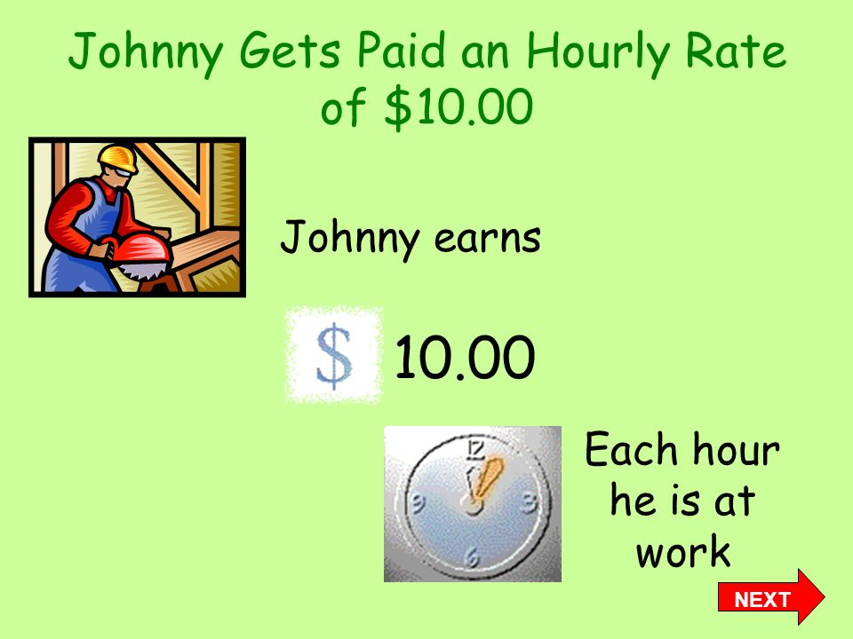 Johnny Gets Paid an Hourly Rate of $10.00 Johnny earns 10.00 Each hour he is at work NEXT