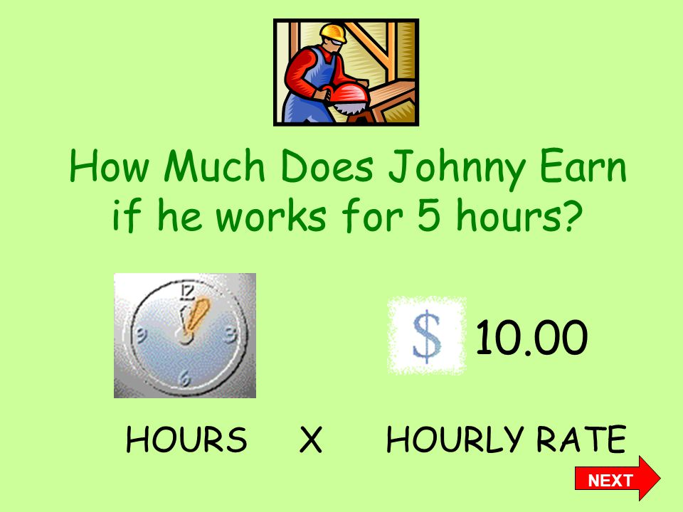How Much Does Johnny Earn if he works for 5 hours 10.00 HOURS X HOURLY RATE NEXT