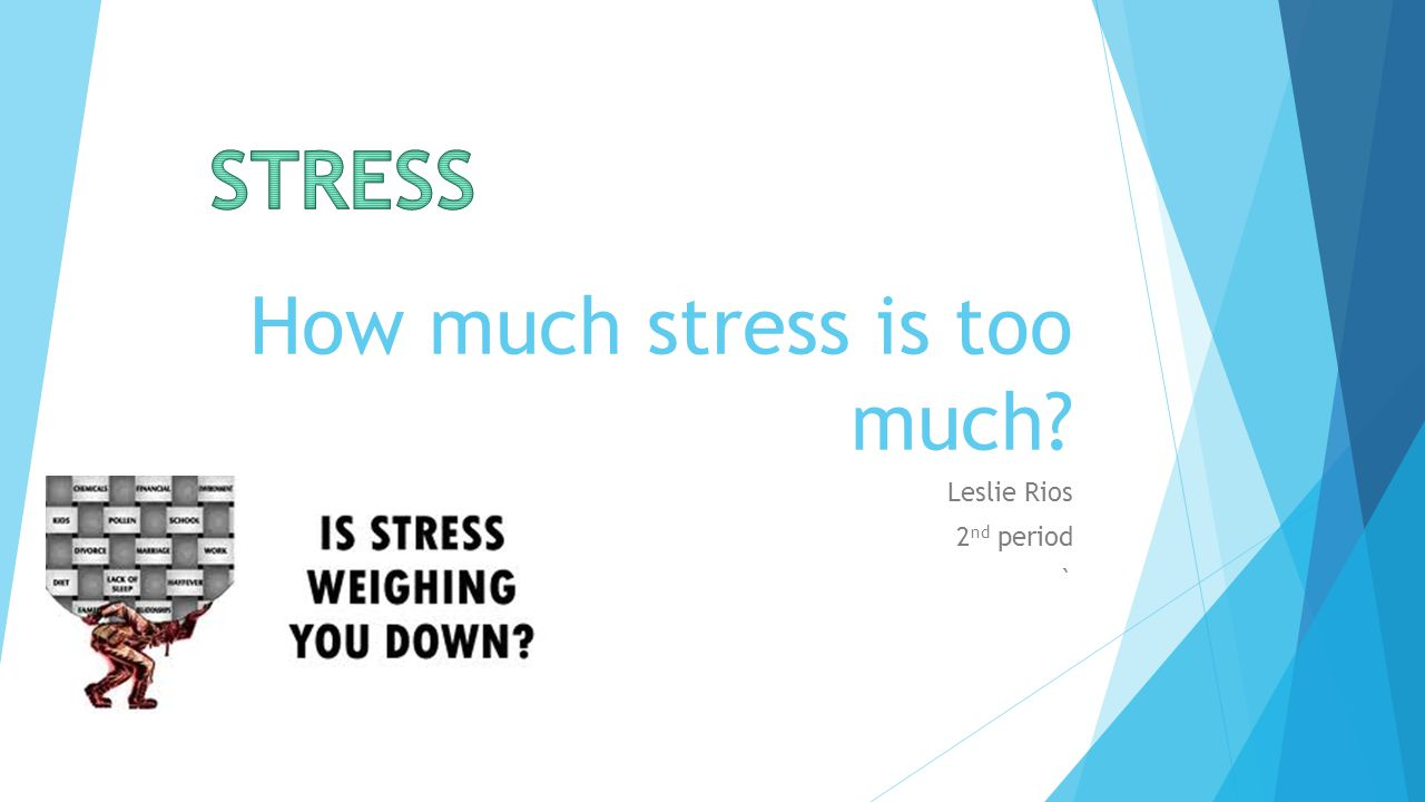 How much stress is too much Leslie Rios 2 nd period `