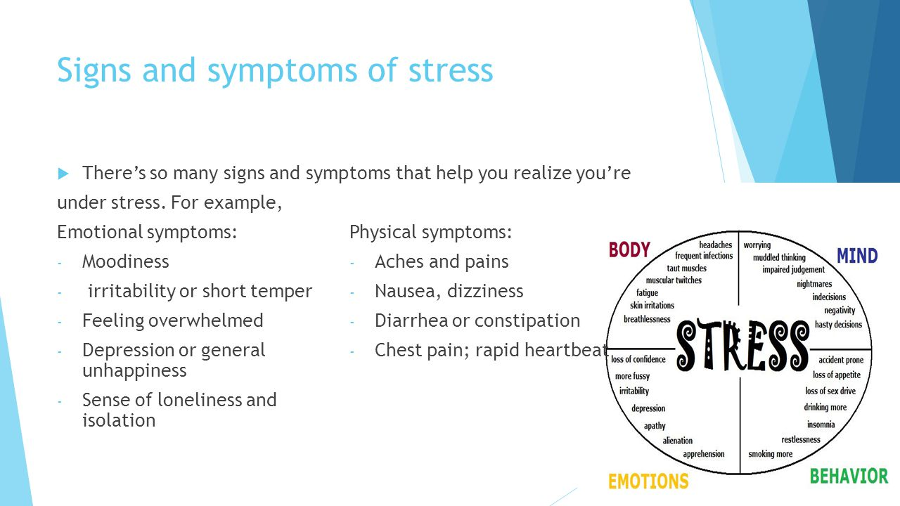 Signs and symptoms of stress  There's so many signs and symp under stress.