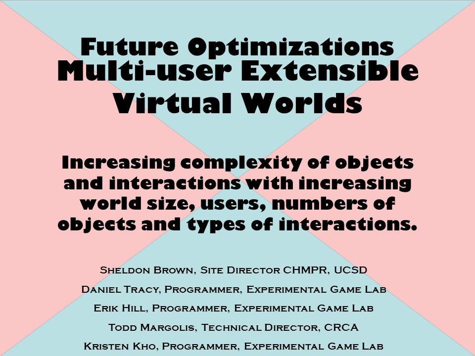 Multi-user Extensible Virtual Worlds Increasing complexity of objects and interactions with increasing world size, users, numbers of objects and types of interactions.