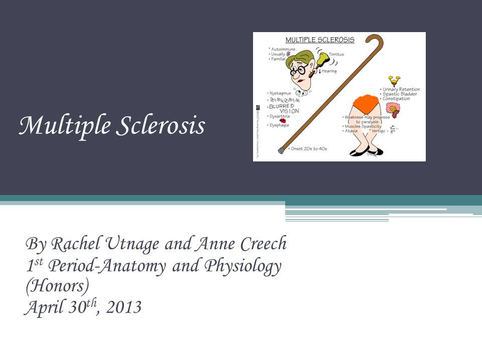 Multiple Sclerosis By Rachel Utnage and Anne Creech 1 st Period ...