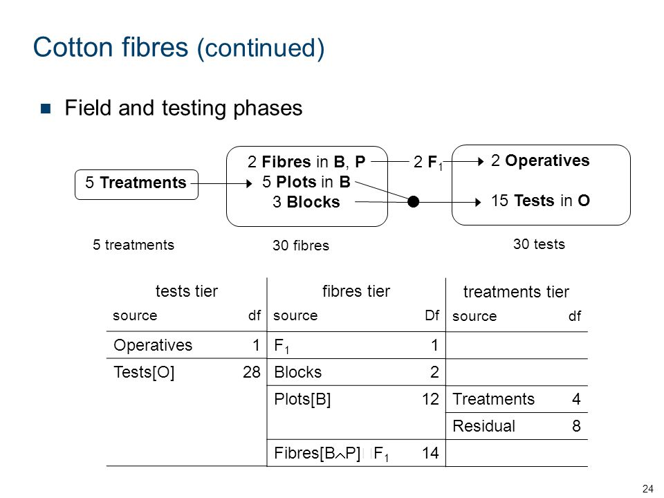Cotton fibres (continued) 24 2 Operatives 15 Tests in O 30 tests 30 fibres 2 Fibres in B, P 5 Plots in B 3 Blocks 5 treatments 5 Treatments  2 F 1 Field and testing phases tests tier sourcedf Operatives1 Tests[O]28 fibres tier sourceDf F1F1 1 Blocks2 Plots[B]12 Fibres[B  P]  F 1 14 treatments tier sourcedf Treatments4 Residual8