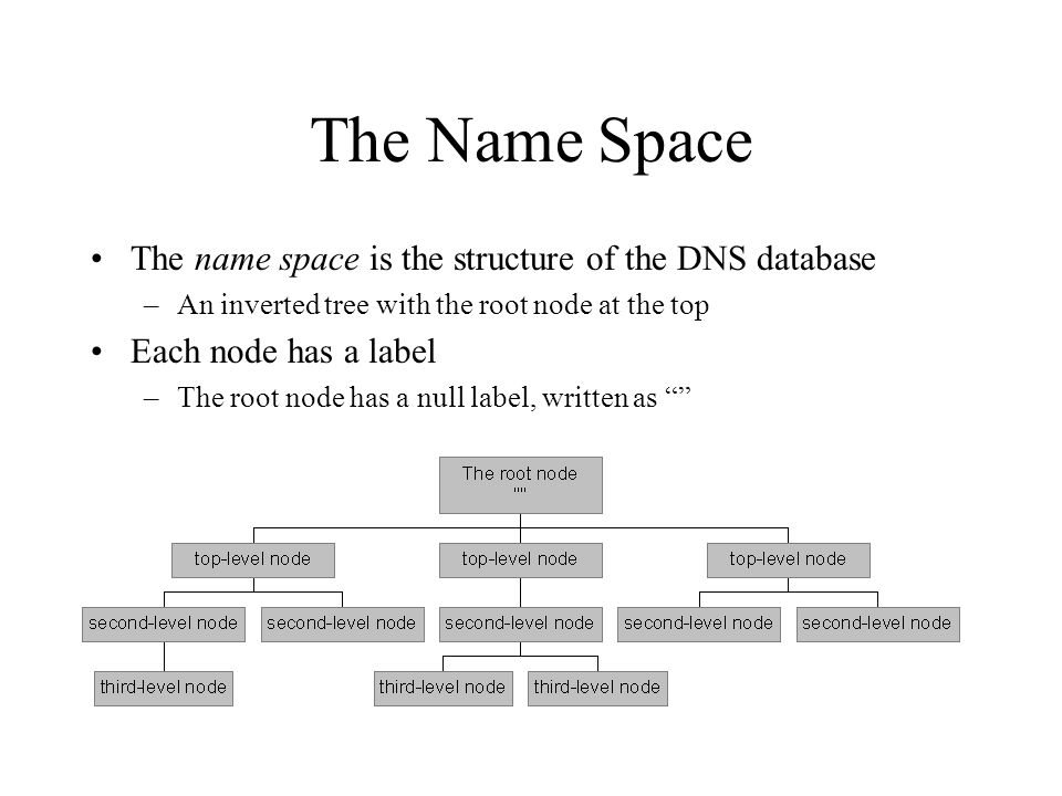 The Name Space The name space is the structure of the DNS database –An inverted tree with the root node at the top Each node has a label –The root node has a null label, written as