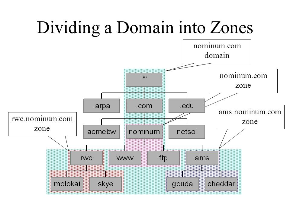 Dividing a Domain into Zones nominum.com domain nominum.com zone ams.nominum.com zone rwc.nominum.com zone
