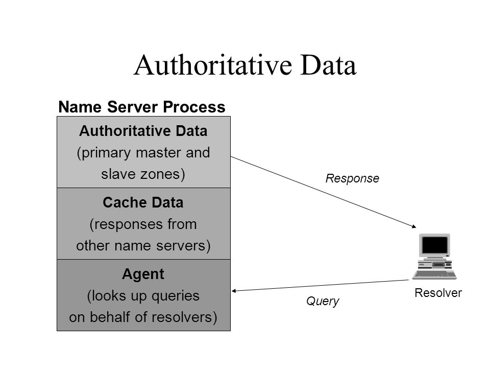Authoritative Data Resolver Query Response Authoritative Data (primary master and slave zones) Agent (looks up queries on behalf of resolvers) Cache Data (responses from other name servers) Name Server Process